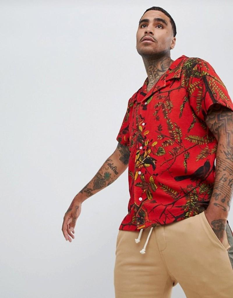 プロファウンドエステティック メンズ シャツ トップス Profound Aesthetic short sleeve revere collar shirt with bird print in red Red