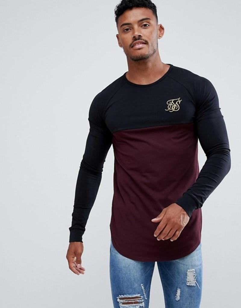 シックシルク メンズ Tシャツ トップス SikSilk long sleeve raglan t-shirt in black with burgundy panel Black