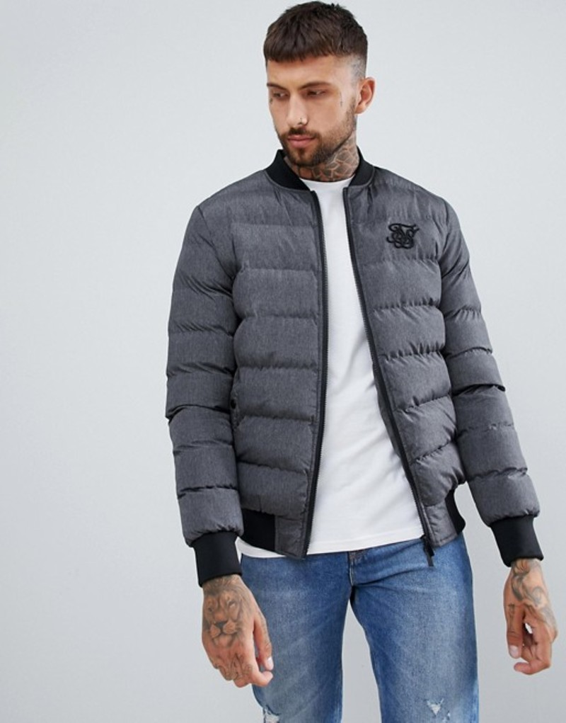 シックシルク メンズ ジャケット・ブルゾン アウター SikSilk puffer jacket in gray Grey