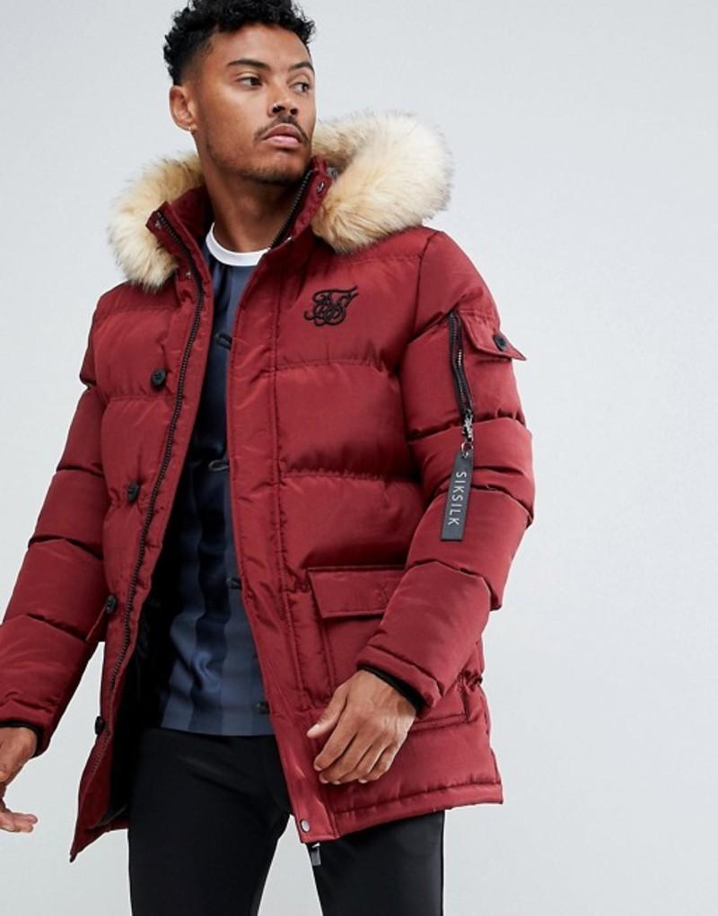 シックシルク メンズ パーカー・スウェット アウター SikSilk parka jacket with faux fur hood in burgundy Burgundy