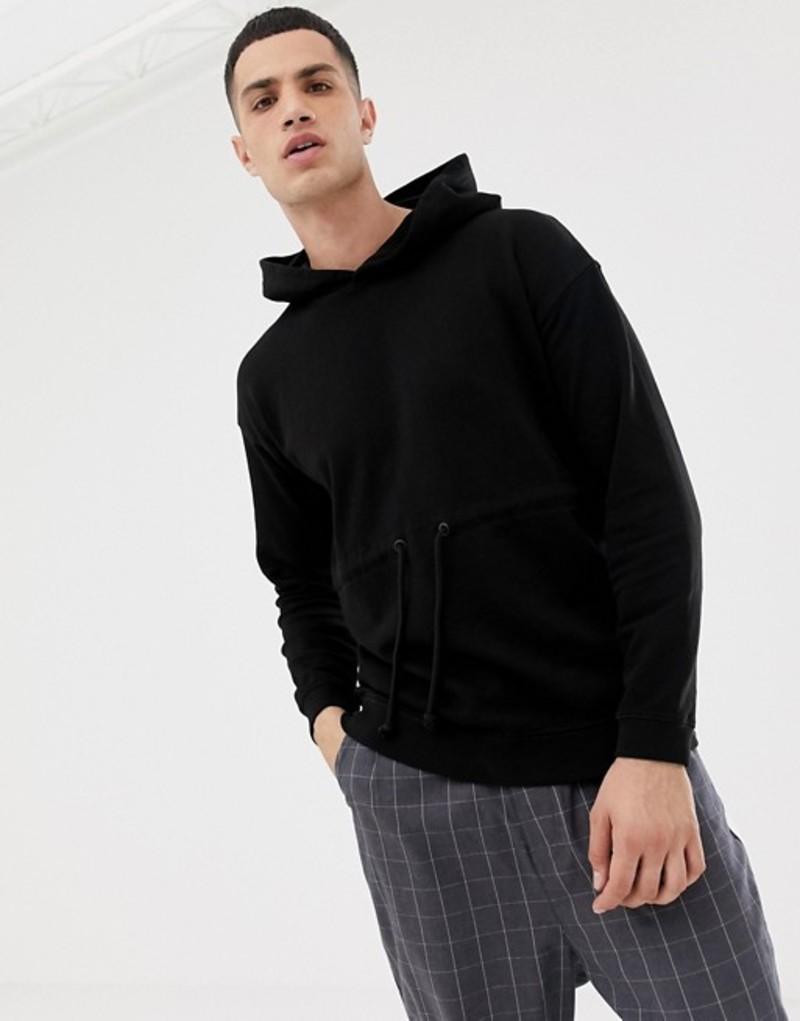 オンリーアンドサンズ メンズ パーカー・スウェット アウター Only & Sons drop shoulder hoodie with drawstring detail Black