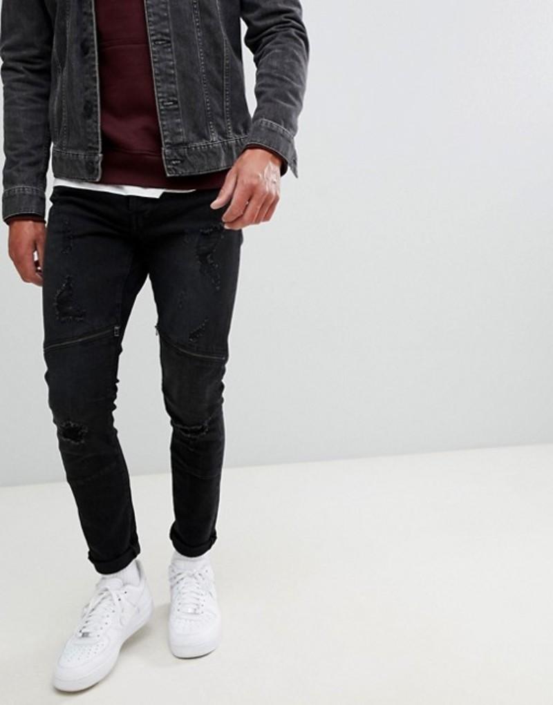 オンリーアンドサンズ メンズ デニムパンツ ボトムス Only & Sons jeans in slim fit with distressed biker zip knee Black denim