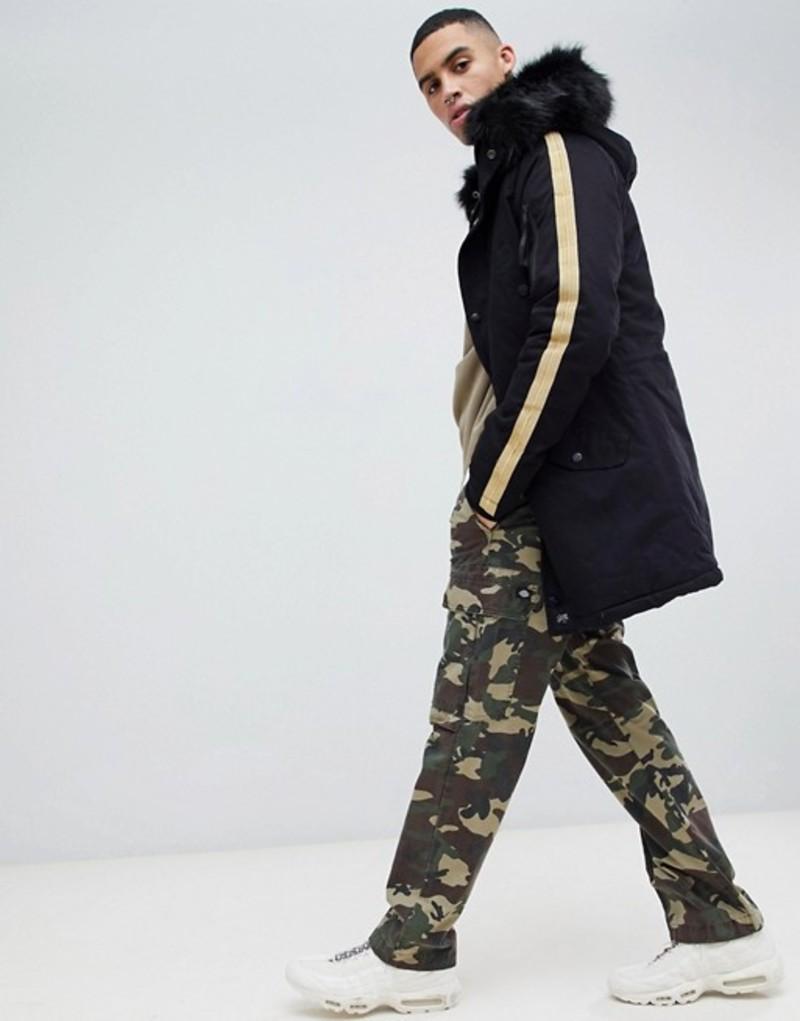 シックスジュン メンズ パーカー・スウェット アウター Sixth June parka coat in black with taping detail Black