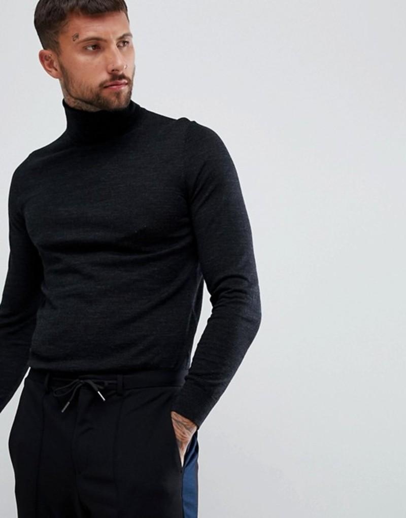 フューゴ メンズ ニット・セーター アウター HUGO San Antonio merino roll neck sweater in gray Grey