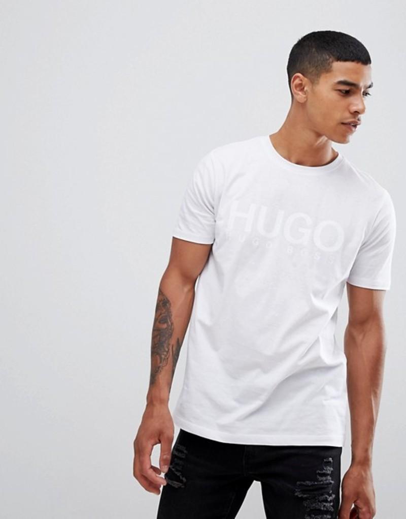 フューゴ メンズ Tシャツ トップス HUGO Dolive-U large logo t-shirt in white White