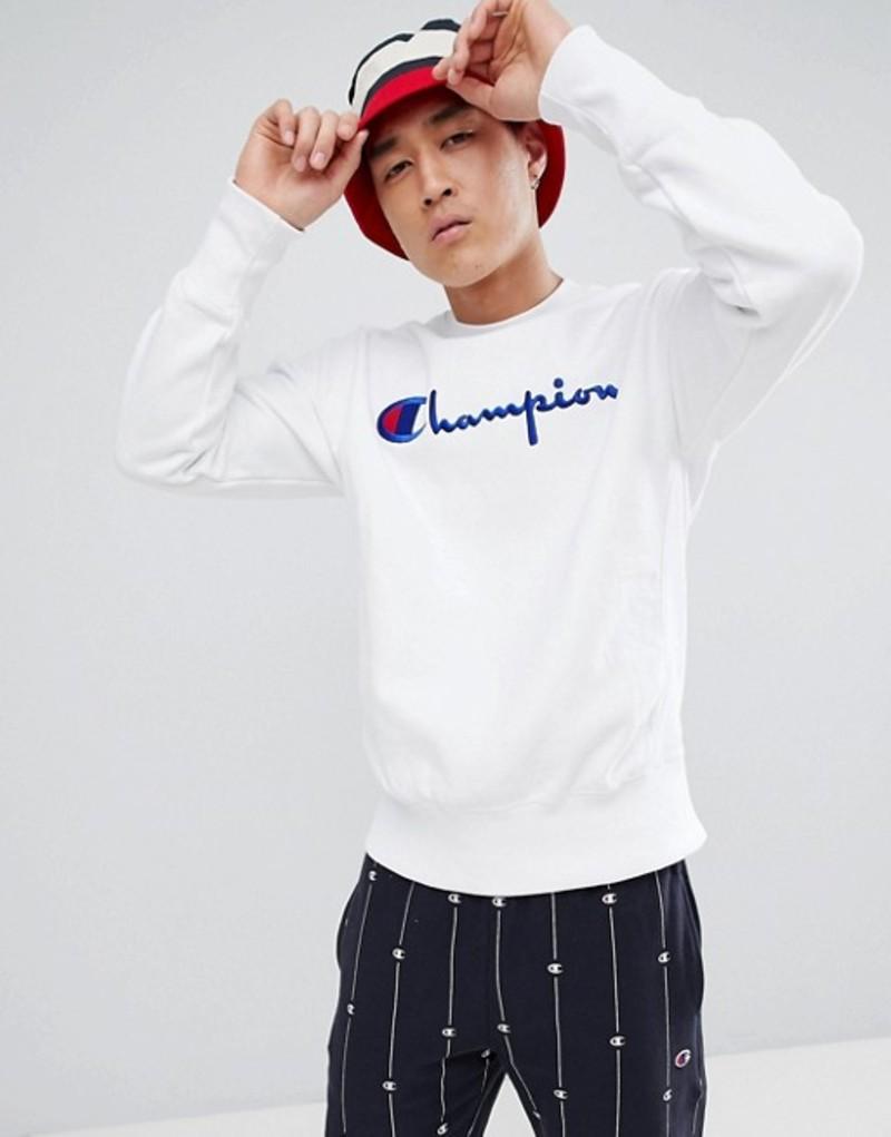 チャンピオン メンズ パーカー・スウェット アウター Champion reverse weave sweatshirt with large script logo in white White