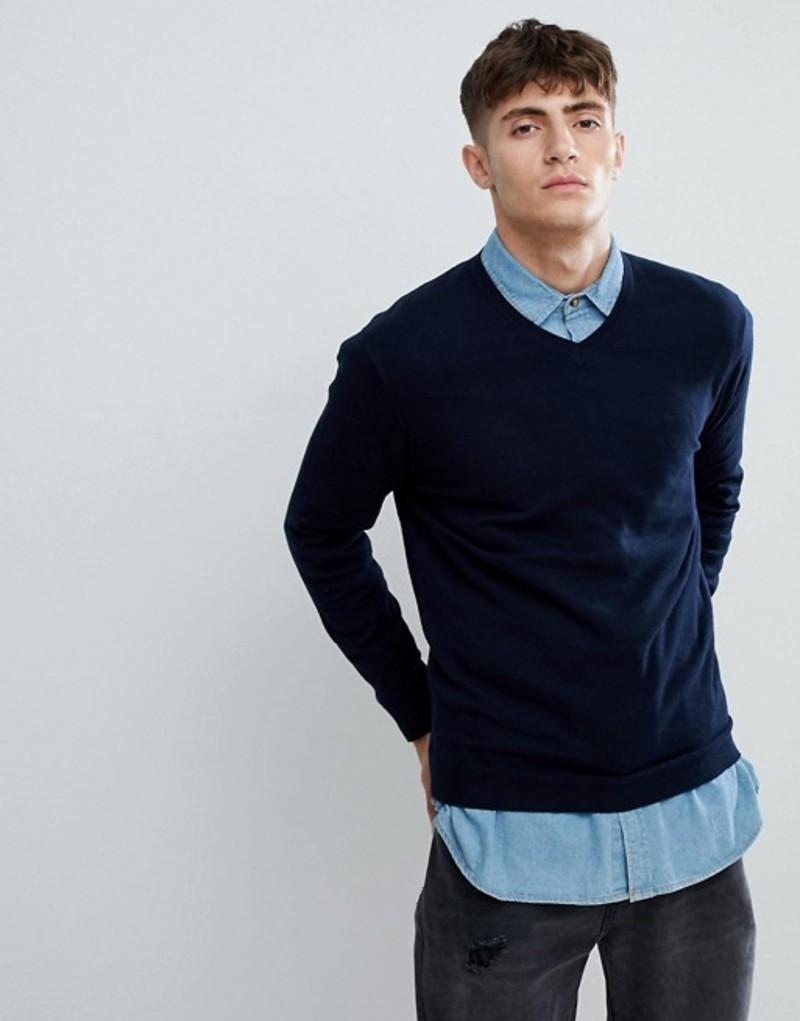 エスプリ メンズ ニット・セーター アウター Esprit V-Neck Cashmere Mix Sweater In Navy Navy