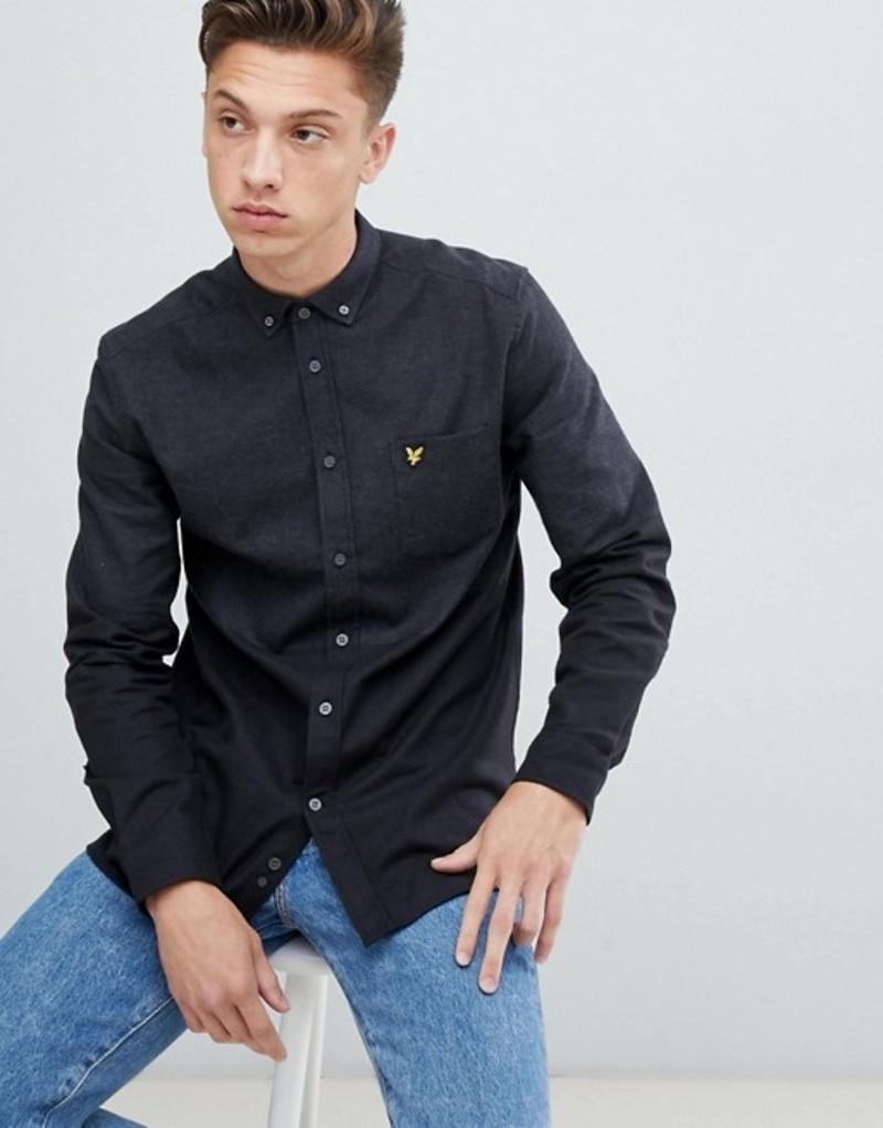 ライルアンドスコット メンズ シャツ トップス Lyle & Scott buttondown color block marl shirt in dark gray Grey