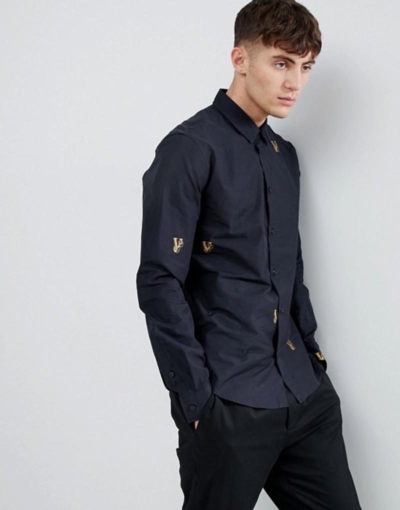 ヴェルサーチ メンズ シャツ トップス Versace Jeans slim shirt with all over embroidery Black
