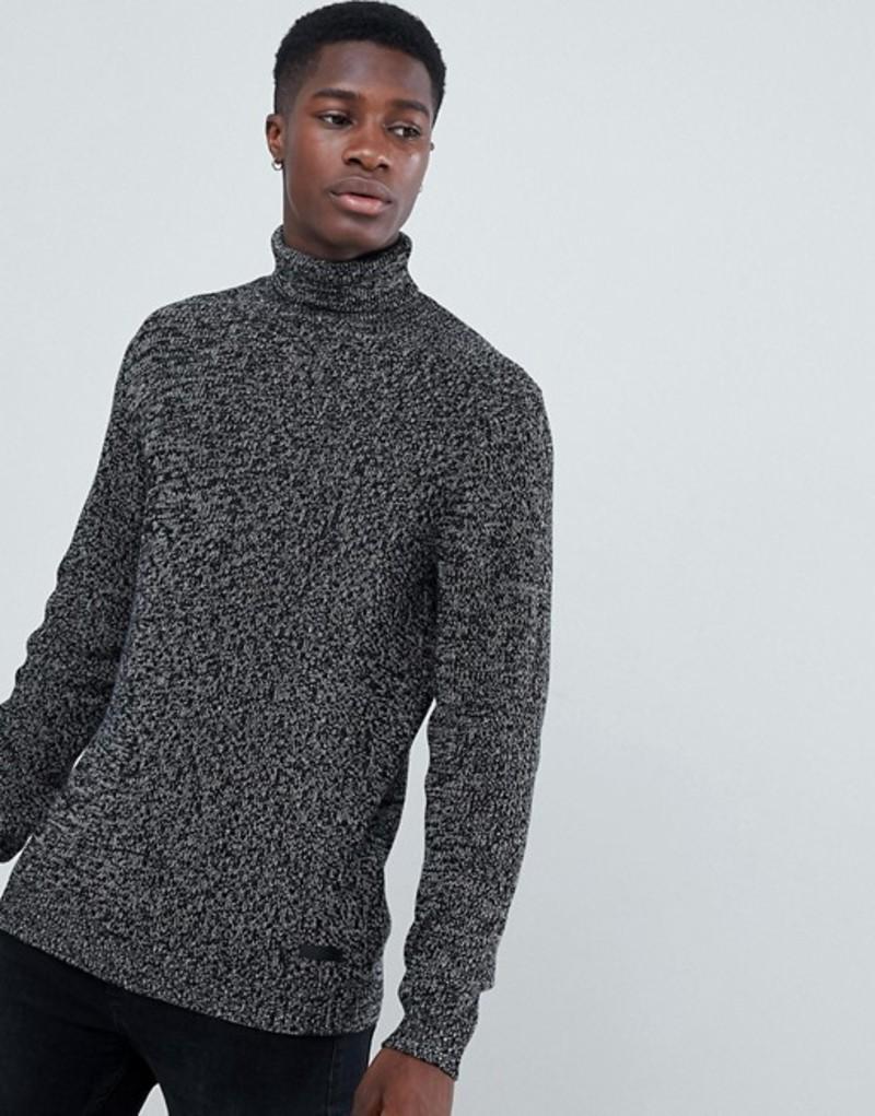 エスプリ メンズ ニット・セーター アウター Esprit Chunky Turtleneck In Twisted Yarn Black