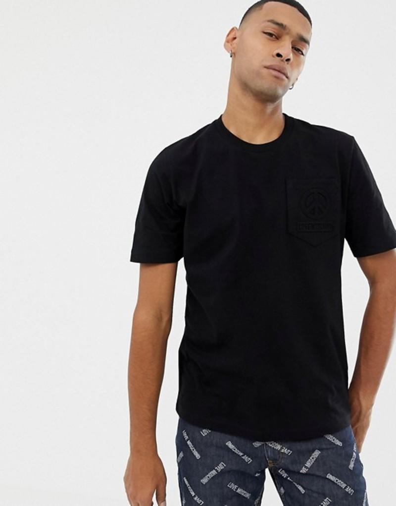 ラブ モスキーノ メンズ Tシャツ トップス Love Moschino branded pocket t-shirt Black