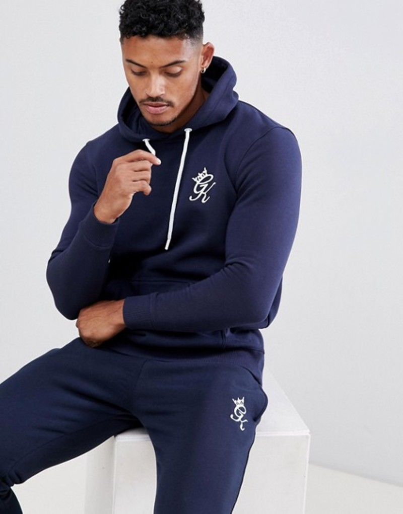 ジムキング メンズ パーカー・スウェット アウター Gym King muscle hoodie in navy with logo Navy