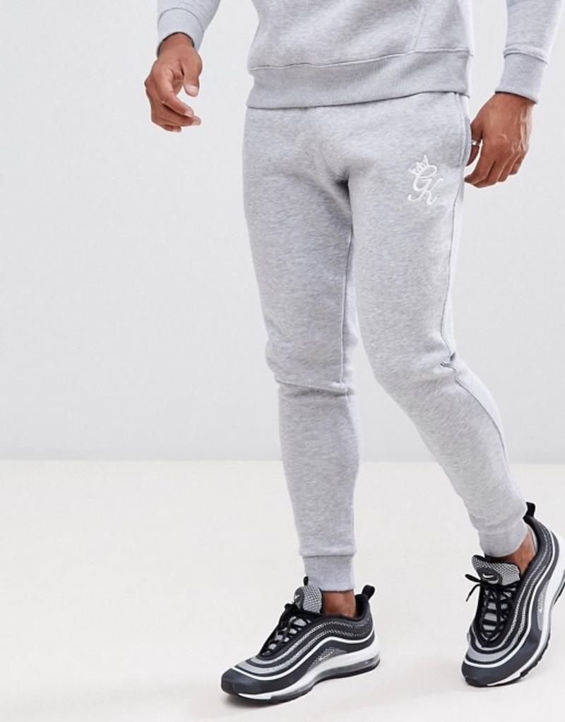 ジムキング メンズ カジュアルパンツ ボトムス Gym King skinny joggers in gray marl with logo Grey