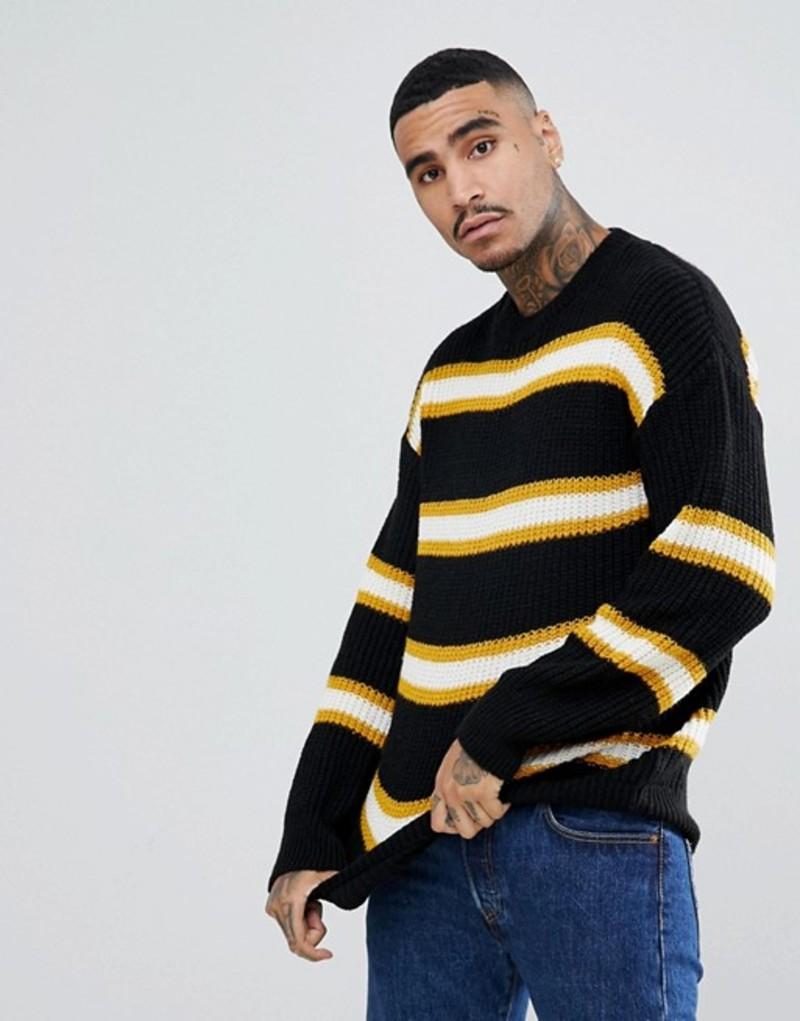 メニス メンズ ニット・セーター アウター Mennace sweater in black stripe Black