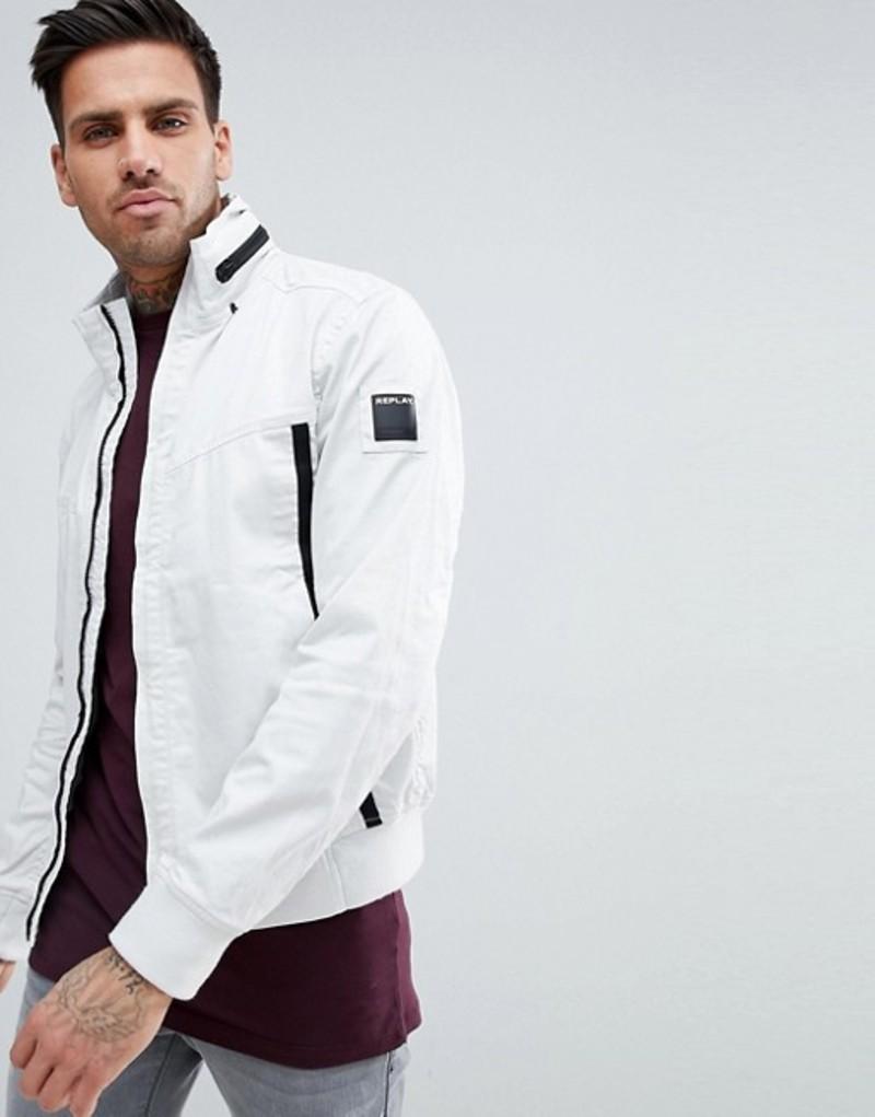 リプレイ メンズ ジャケット・ブルゾン アウター Replay lightweight taped jacket in white White