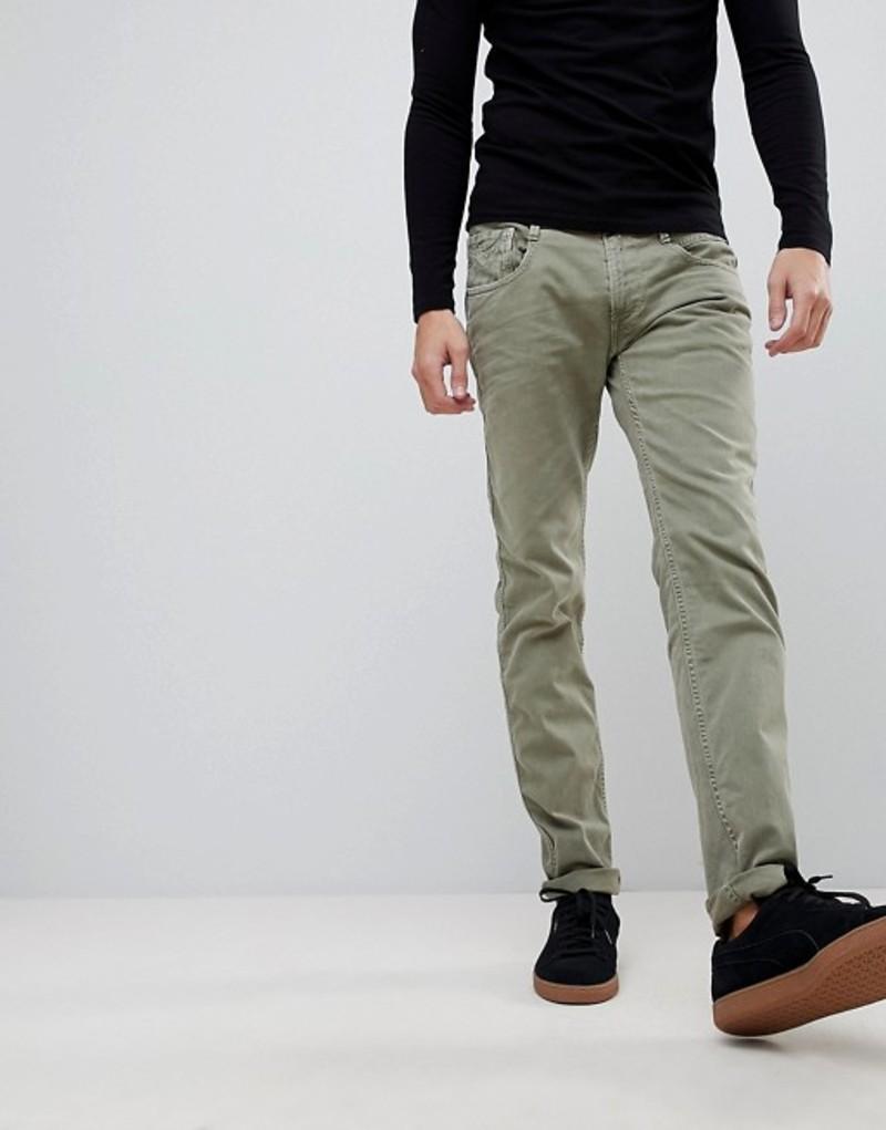 リプレイ メンズ デニムパンツ ボトムス Replay Anbass slim jeans in khaki Green