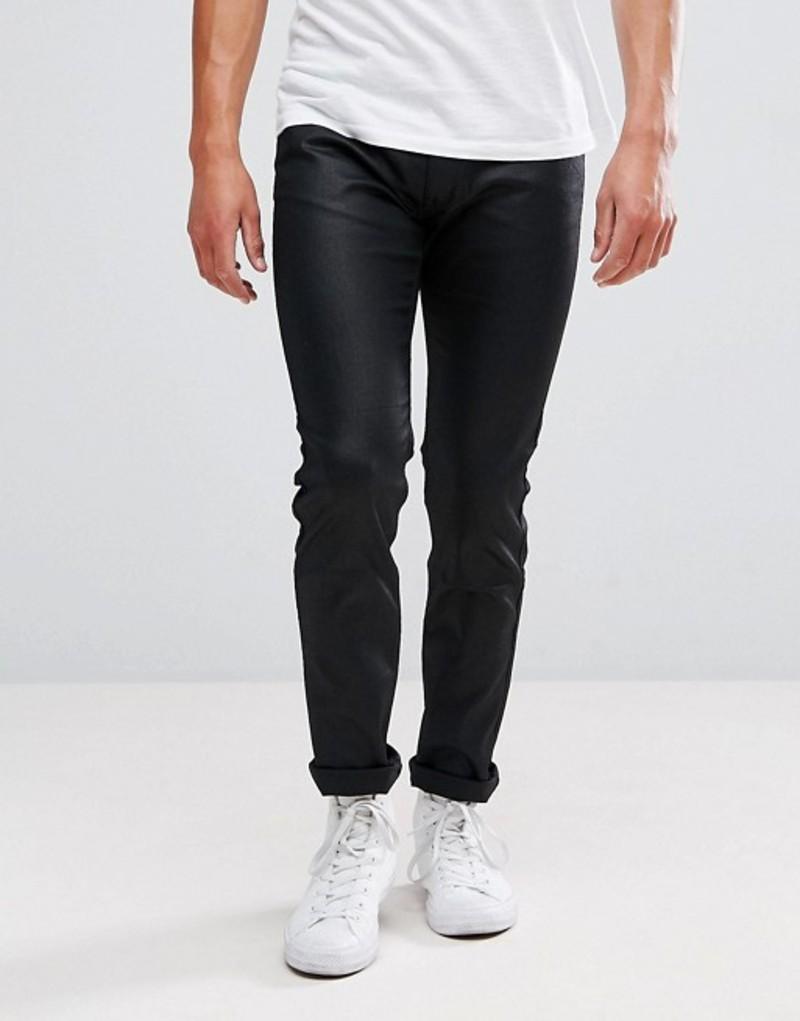 フューゴ メンズ デニムパンツ ボトムス HUGO 734 Super Stretch Coated Jeans In Black Black