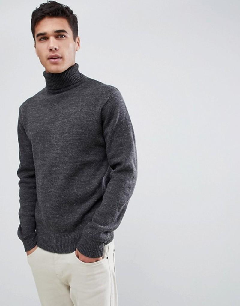 フレンチコネクション メンズ ニット・セーター アウター French Connection Chunky Roll Neck Sweater Plain Charcoal mel/char