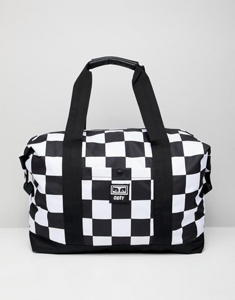 オベイ メンズ ボストンバッグ バッグ Obey Drop Out weekender duffle in checkerboard White