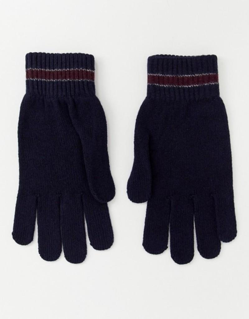 テッドベーカー メンズ 手袋 アクセサリー Ted Baker Pairs knitted gloves with stripe Navy