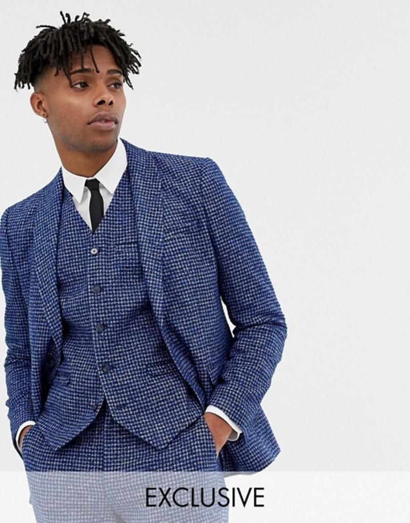 ハートアンドダガー メンズ ジャケット・ブルゾン アウター Heart & Dagger skinny fit suit jacket in blue dogstooth Blue