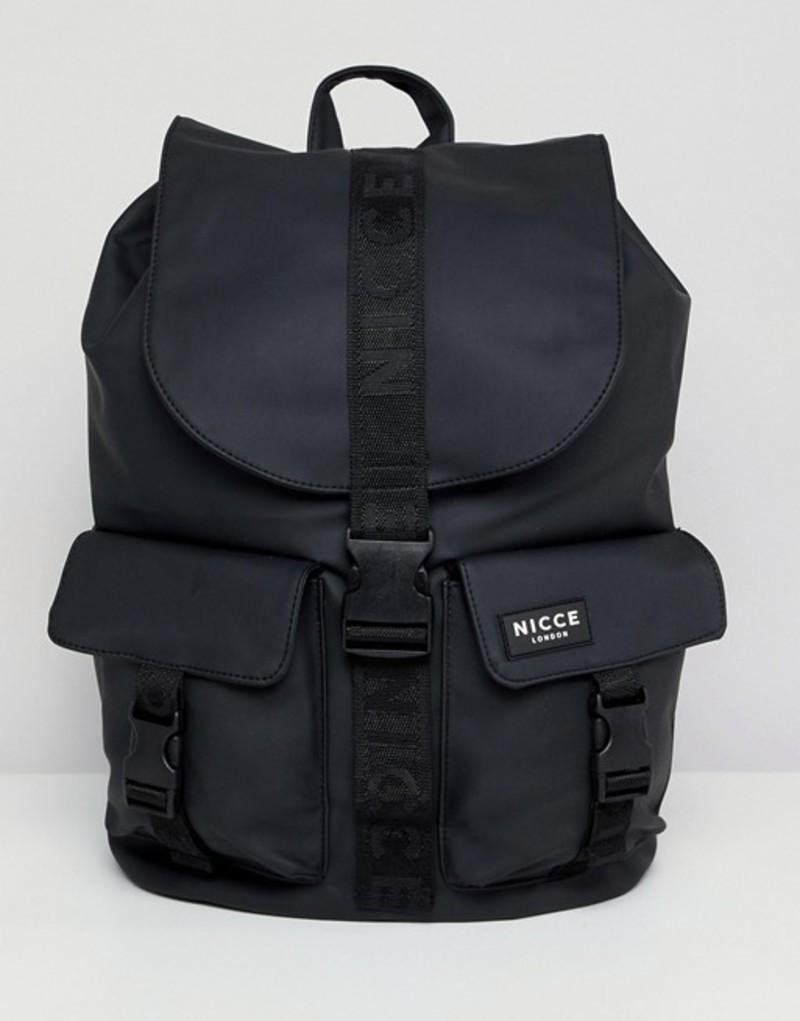ニースロンドン メンズ バックパック・リュックサック バッグ Nicce backpack in black with front pockets Black