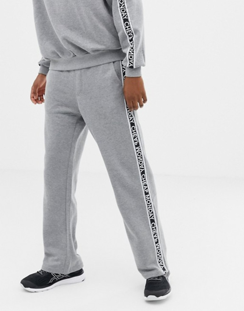 チープマンデー メンズ カジュアルパンツ ボトムス Cheap Monday Logo Taped Sweatpants Gray TWO-PIECE Grey