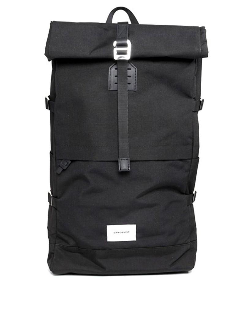 サンドクヴィスト メンズ バックパック・リュックサック バッグ Sandqvist Bernt backpack with rolltop Black