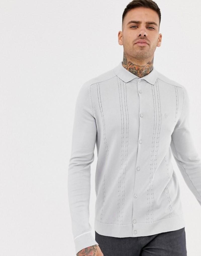 リバーアイランド メンズ ポロシャツ トップス River Island cable knit buttoned polo shirt in light gray Lt grey