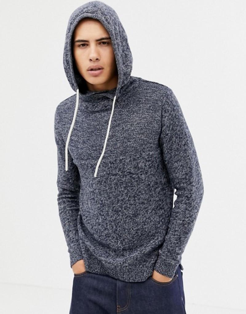 ジャック アンド ジョーンズ メンズ パーカー・スウェット アウター Jack & Jones Originals knitted hoodie Total eclipse