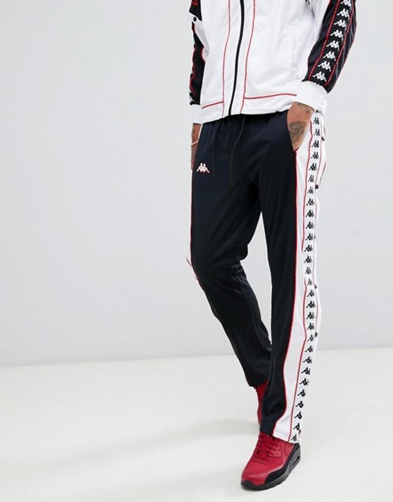 カッパ メンズ カジュアルパンツ ボトムス Kappa joggers with popper side fastening and logo taping in black Black