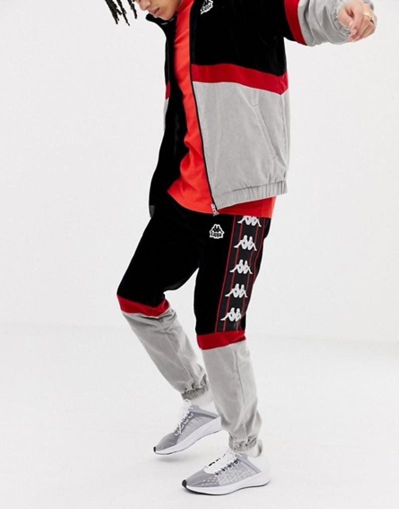 カッパ メンズ カジュアルパンツ ボトムス Kappa cut & sew velvet joggers with logo taping in black & gray Black/grey