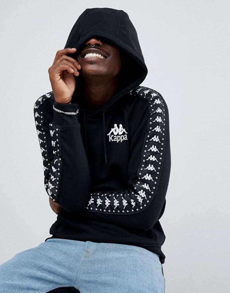 カッパ メンズ パーカー・スウェット アウター Kappa overhead hoodie with logo taping in black Black