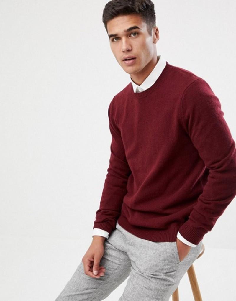 エイソス メンズ ニット・セーター アウター ASOS DESIGN lambswool sweater in burgundy Burgundy