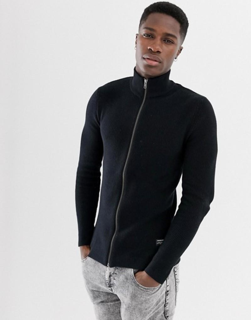 ジャック アンド ジョーンズ メンズ カーディガン アウター Jack & Jones Essentials funnel zip through cardigan Black