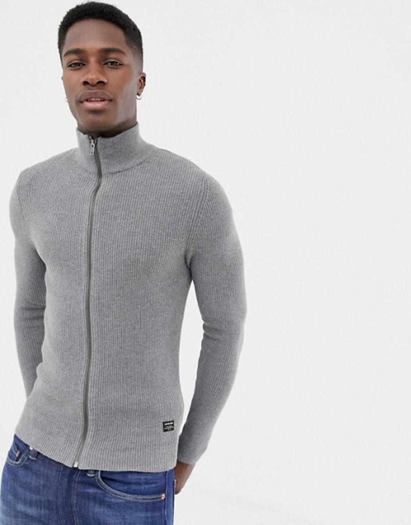 ジャック アンド ジョーンズ メンズ カーディガン アウター Jack & Jones Essentials funnel zip through cardigan Grey melange