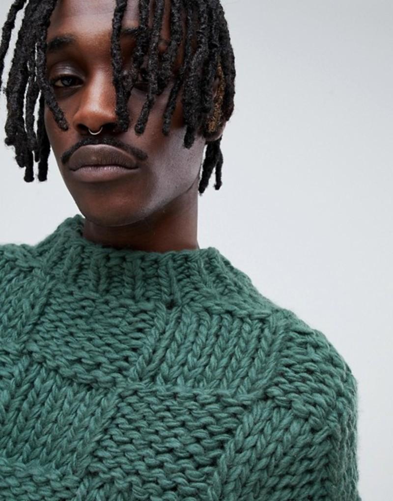 エイソス メンズ ニット・セーター アウター ASOS DESIGN heavyweight hand knitted square texture sweater in green Green