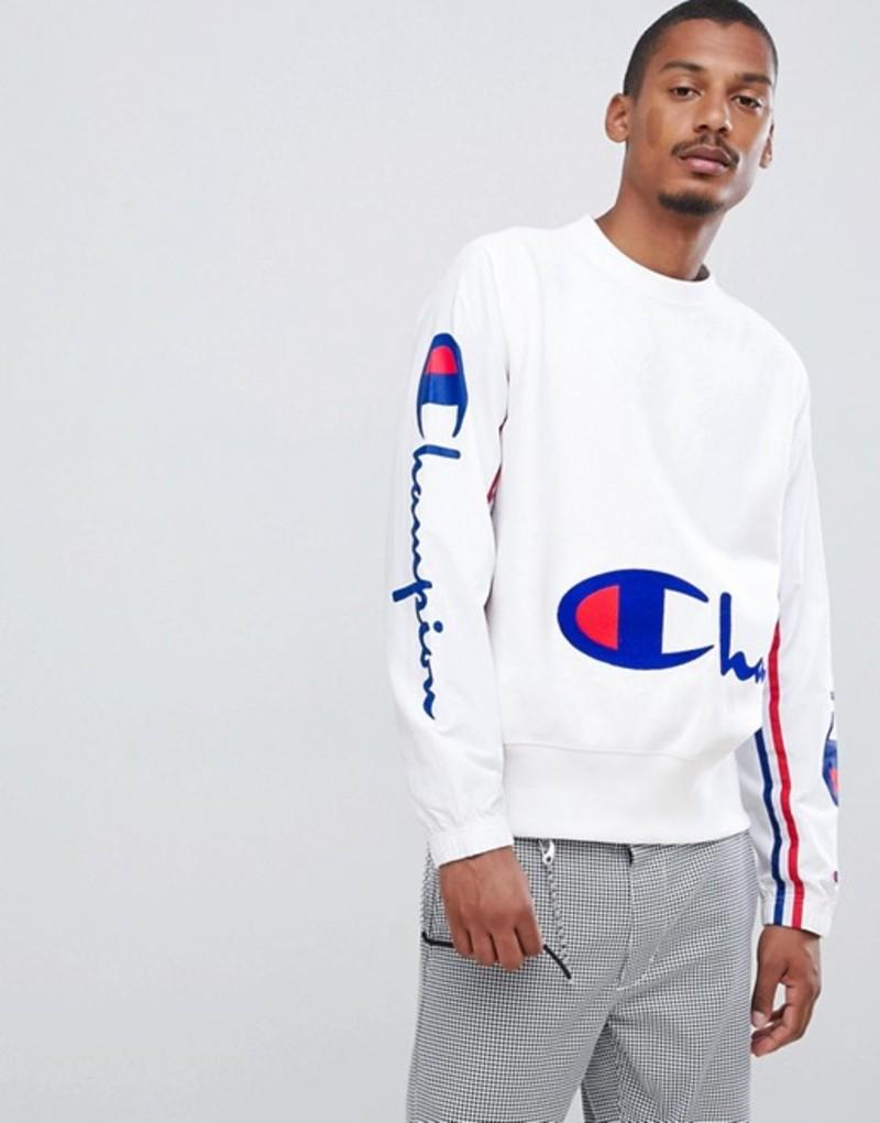 チャンピオン メンズ パーカー・スウェット アウター Champion sweatshirt with crinkle nylon sleeves in white White