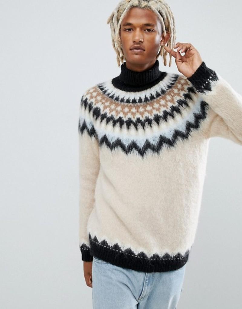 エイソス メンズ ニット・セーター アウター ASOS DESIGN mohair wool blend fairilse roll neck sweater Ecru