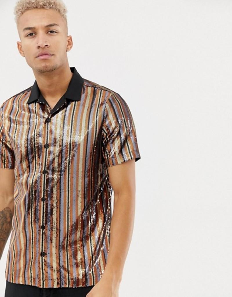 エイソス メンズ シャツ トップス ASOS DESIGN regular fit sequin vertical stripe shirt in bronze Brown