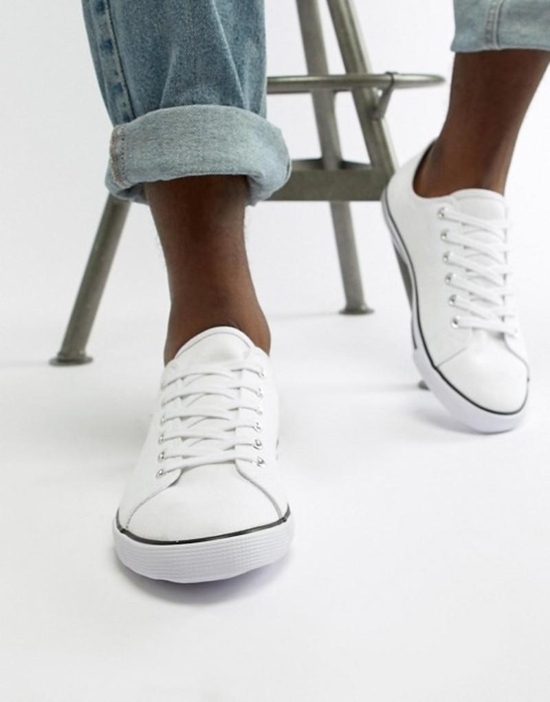 エイソス メンズ スニーカー シューズ ASOS DESIGN lace up plimsolls in white White