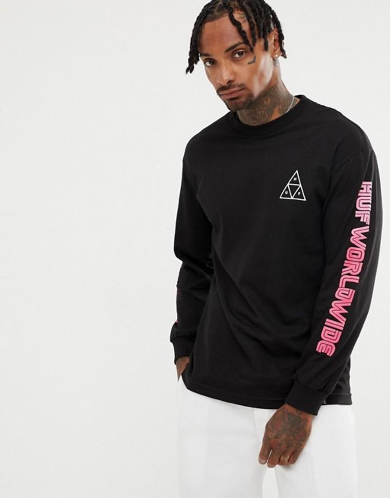 ハフ メンズ Tシャツ トップス HUF Long Sleeve T-Shirt With City Scape Back Print In Black Black
