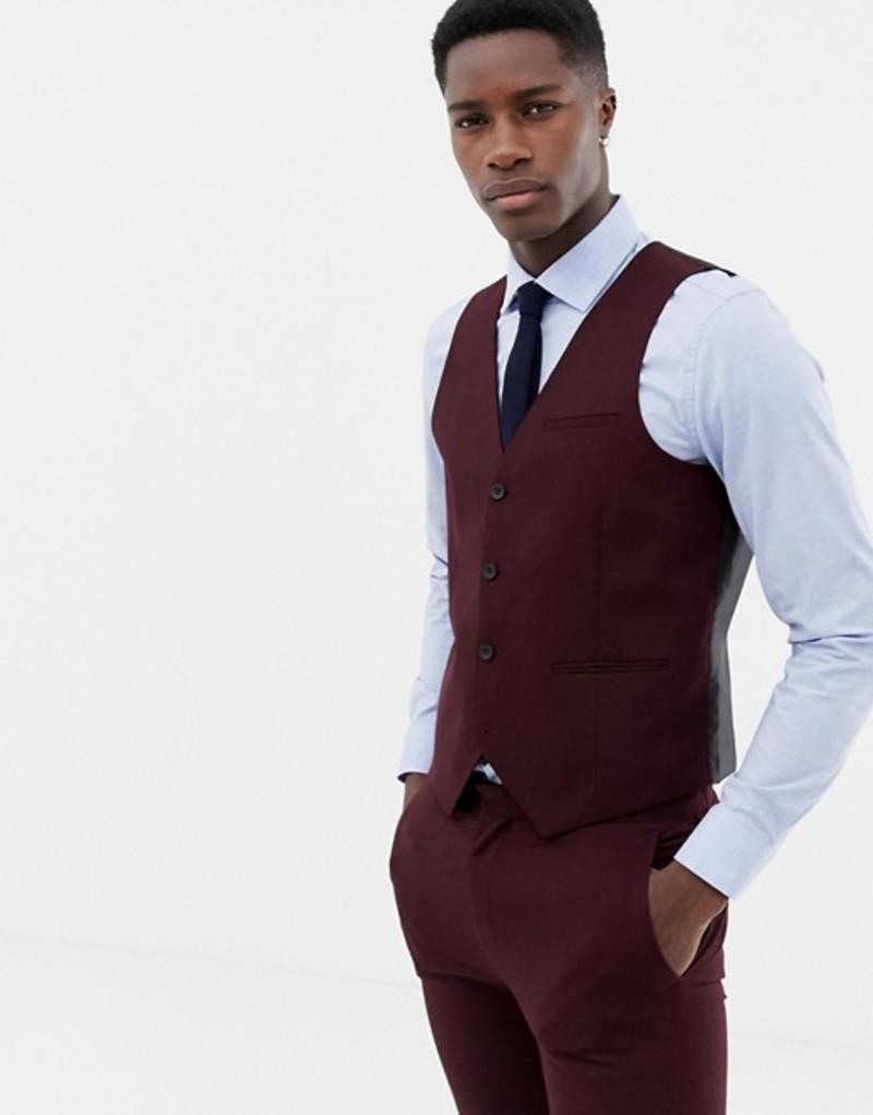 オンリーアンドサンズ メンズ タンクトップ トップス Only & Sons skinny vest in red Fudge