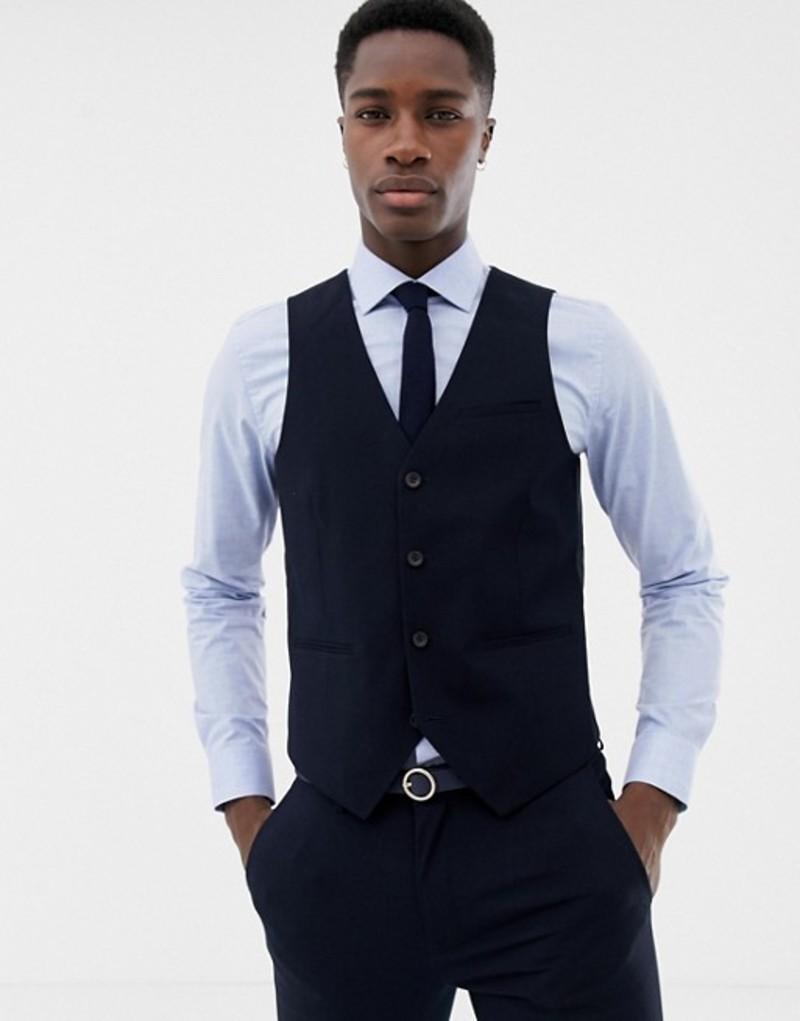オンリーアンドサンズ メンズ タンクトップ トップス Only & Sons skinny vest in navy Dark navy