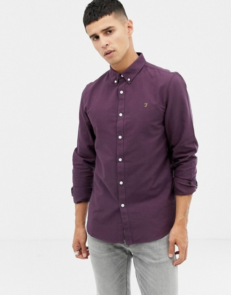 ファーラー メンズ シャツ トップス Farah Brewer Slim Fit Oxford Shirt in Purple Purple