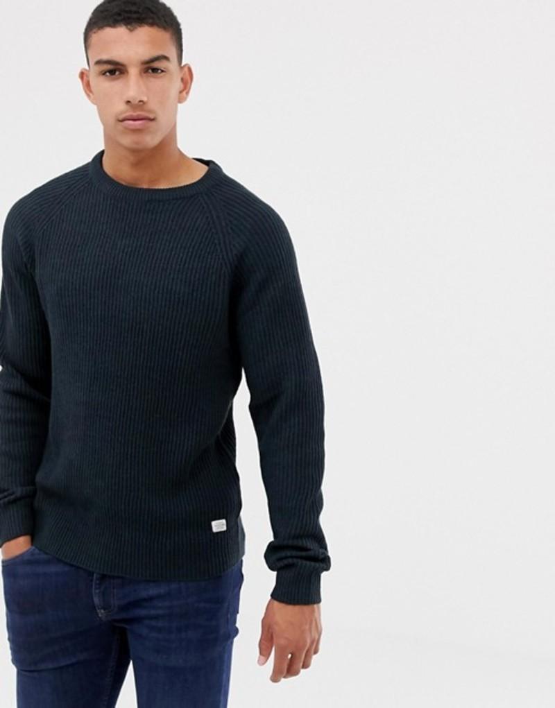 ジャック アンド ジョーンズ メンズ ニット・セーター アウター Jack & Jones Originals knitted sweater with ribbed detail Total eclipse