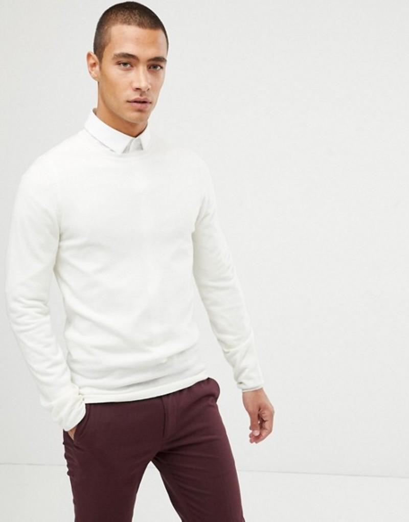 エイソス メンズ ニット・セーター アウター ASOS DESIGN muscle fit merino wool sweater in white White