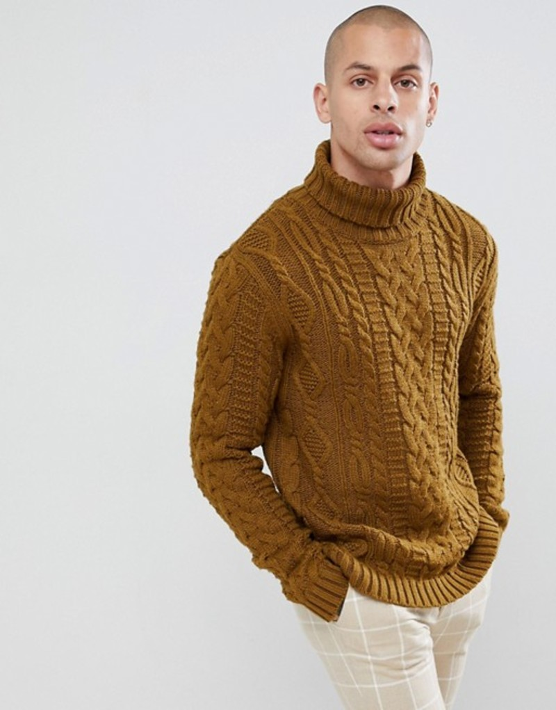 エイソス メンズ ニット・セーター アウター ASOS DESIGN heavyweight cable knit roll neck sweater in khaki Khaki
