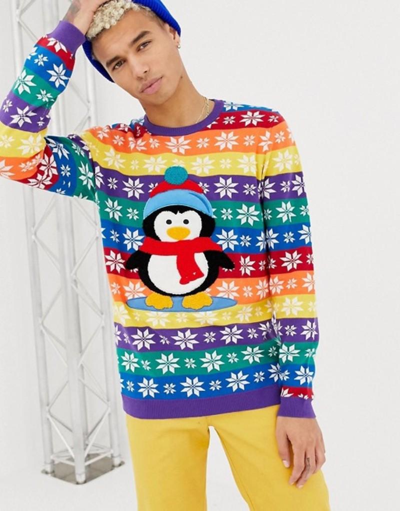 エイソス メンズ ニット・セーター アウター ASOS DESIGN Foundation Holidays sweater with embroidered penguin Multi