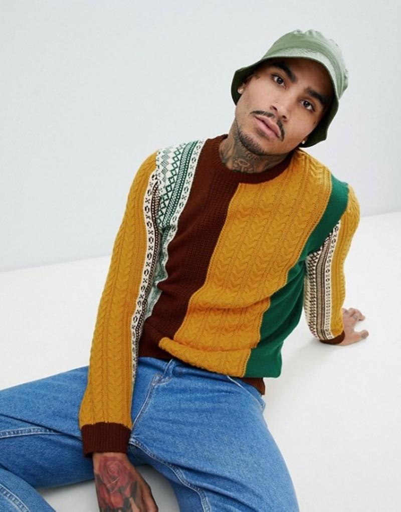 エイソス メンズ ニット・セーター アウター ASOS DESIGN patchwork fairisle and cable knit sweater in burgundy and mustard Multi